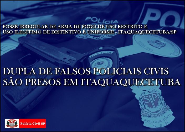 montagem de foto com arma, colete e distintivos da polícia civil