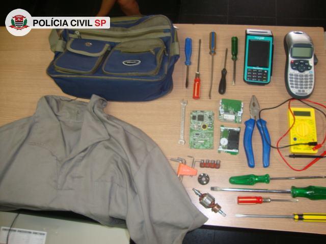 objetos utilizados pela quadrilha